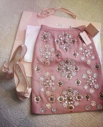 prada shoes dusty pink skirt embroidered embellished