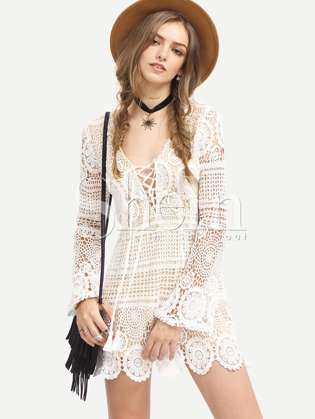 White Long Sleeve Lace Up Lace Boho Dress -SheIn(Sheinside)