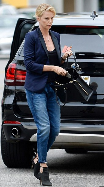 shoes ankle boots charlize theron jeans