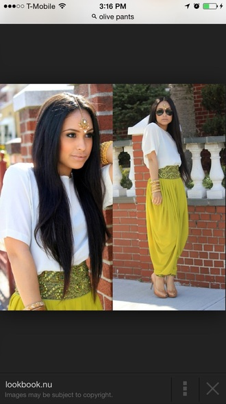 harem mags olive indie indian stle style indian style stds studs harem pants