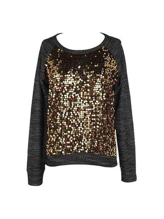 sweater black and gold sweater sequin sweater gold sequins long sleeves www.ustrendy.com