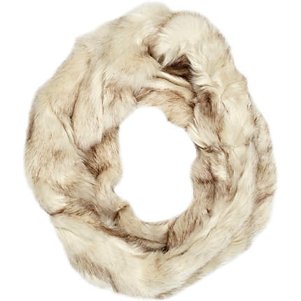 Cream faux fur twist snood