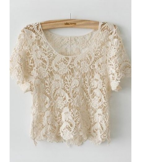 Japanese Cream Cotton Lace Crop Top