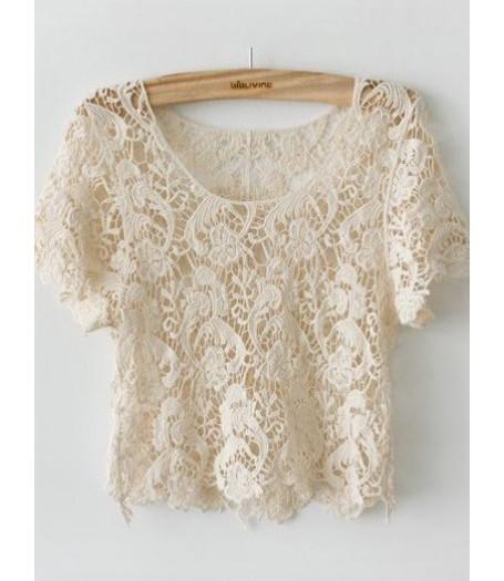 Japanese Cream Cotton Lace Crop Top