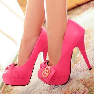 shoes pink pumps gold cute ribbon bow
