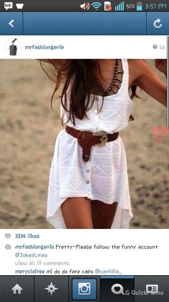 dress white lace dress brown belt beach short front long back lace dress white dress summer dress tribal print dress button up white knit dress white