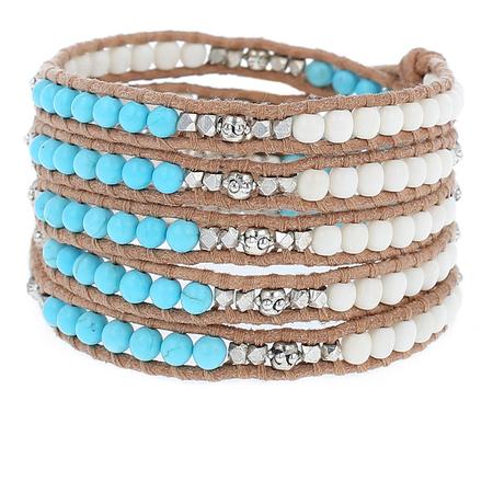 White Bone Mix and Turquoise Wrap Bracelet on Beige Leather