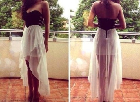Outletpad | Strapless Hi Lo Black and White Dress | Online Store Powered by Storenvy