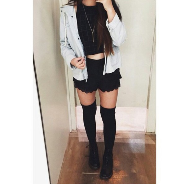 Shorts: lace shorts, black lace shorts, black shorts, jacket, grid ...