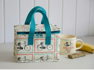 bag lunch bag patterned bag blue blue bag