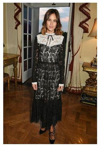 dress lace dress alexa chung fashion week pumps maxi dress shoes