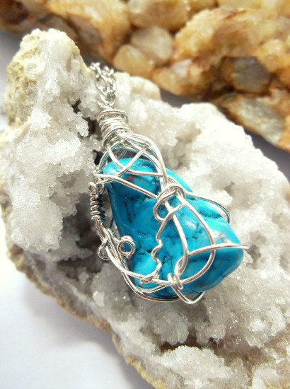 Silver wire wrapped turquoise gemstone necklace