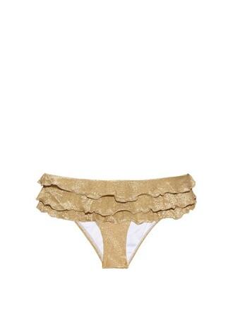 bikini ruffled bikini gold swimwear