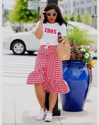 skirt tumblr gingham gingham skirt red skirt asymmetrical sneakers white sneakers t-shirt white t-shirt sunglasses shoes