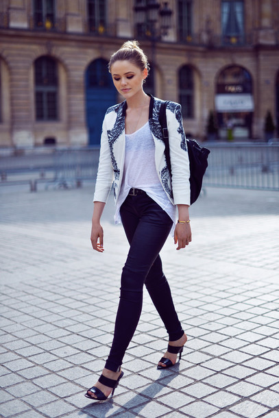kayture mules black sandals embellished jacket shoes blazer printed blazer blogger backpack black mules white tank top skinny jeans white blazer black leather backpack top knot bun double strap mules black double strap mules