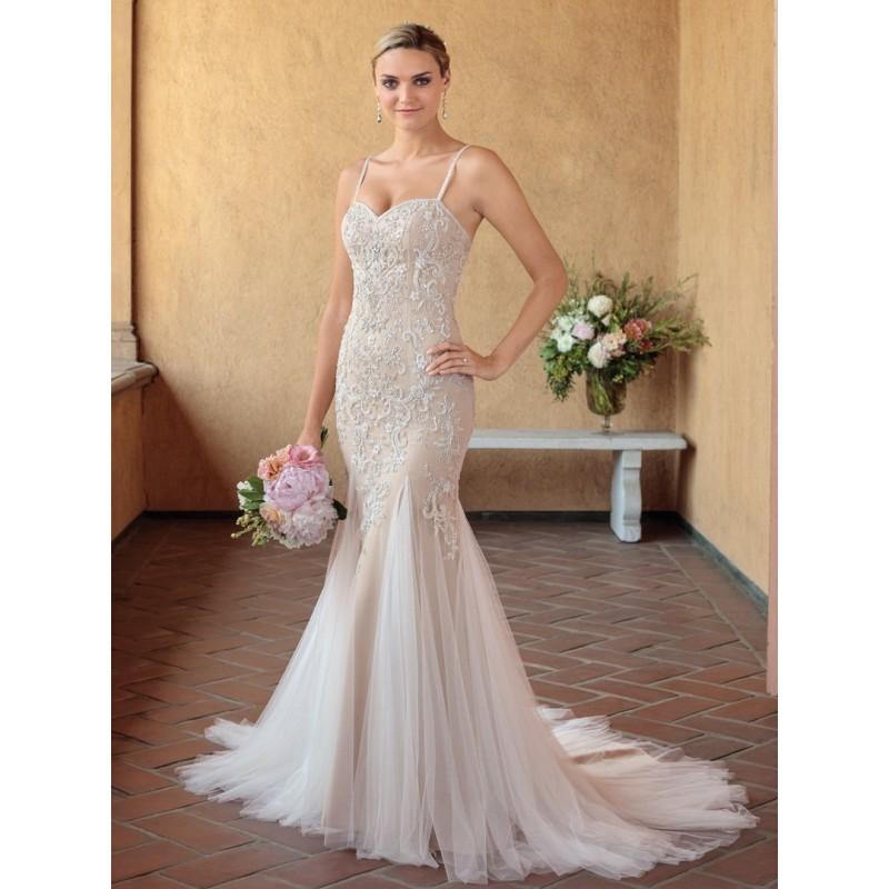 Casablanca Bridal 2018 2321 Pixie Beading Tulle Spaghetti Straps Sleeveless Chapel Train Sweet Nude Mermaid Bridal Gown - Bridesmaid Dress Online Shop
