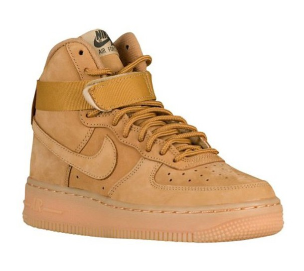 shoes, nike, nike air force 1, tan, kids shoes, kids fashion