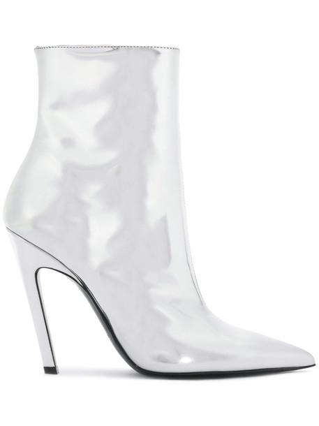 Balenciaga metallic women booties leather grey shoes