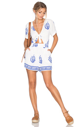 romper,tie front,printed romper,blue and white printed romper