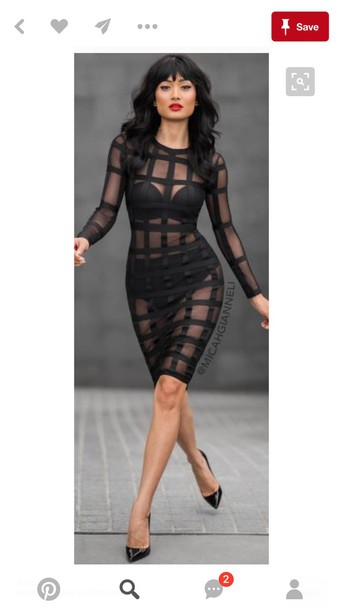 73826730952d dress sheer see through dress black dress bodycon dress long sleeves long  sleeve dress mesh mesh
