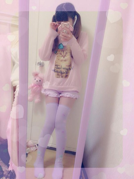shorts purple frilly shorts kawaii super cute beautiful girly pretty