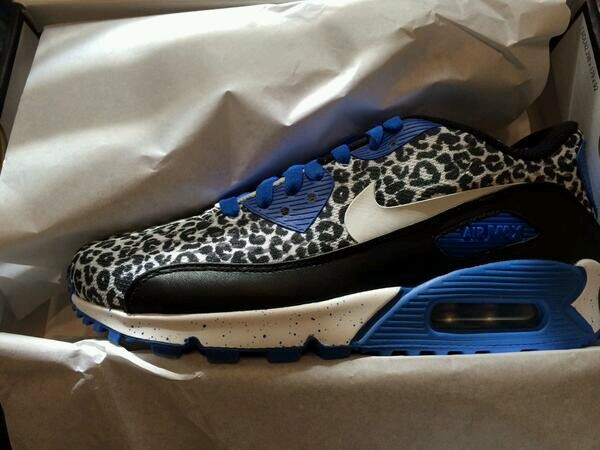shoes nike leopard print black and white blue