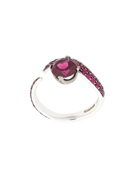 SHAUN LEANE women ring gold white red jewels