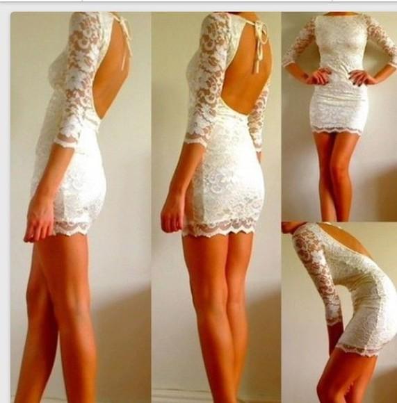 bodycon dress white dress lace dress Open back dress