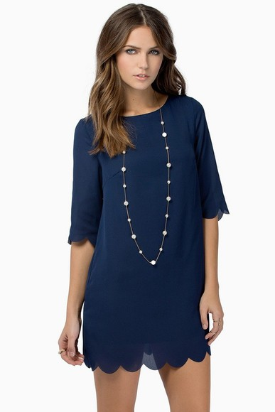 dress navy dress scalloped dress