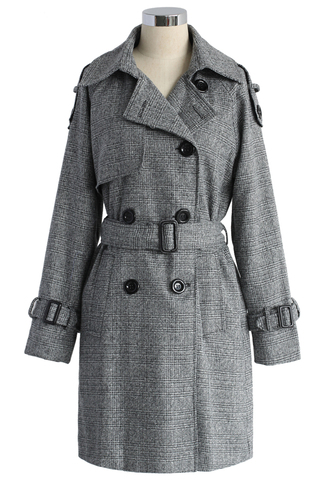 coat classic double-breasted trench coat in grey trench coat chic
