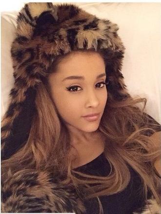 hat faux fur hat ariana grande @arianagrande animal print faux fur