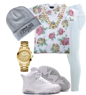 shirt floral jeans sneakers beanie gold watch gold gold floral tank top high waisted skinny light blue jeans jordans comme des fuckdown shoes hat pants jewels tank top t-shirt dope wishlist