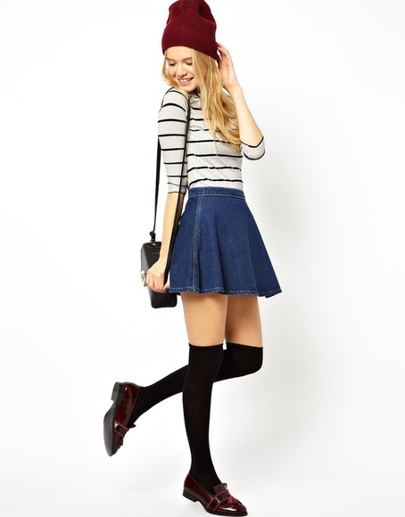 skirt blue skirt denim hat preppy striped shirt socks beanie burgundy loafers denim skirt
