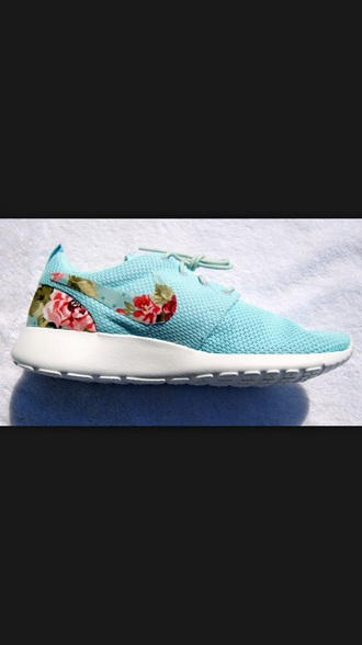 shoes blue roshe run roshe runs nike running shoes nike shoes roshes nike shoes womens roshe runs floral shoes