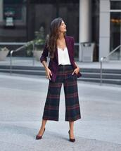 pants,wide-leg pants,cropped pants,checkered pants,pumps,high heel pumps,white blouse,blazer