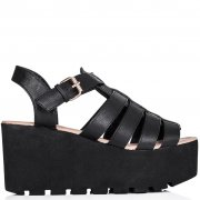 Buy SURF Cut Out Flatform Platform Sandal Shoes Black Leather Style Online