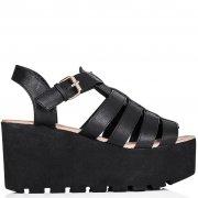 Buy SURF Cut Out Flatform Platform Sandal Shoes Black Leather Style Online