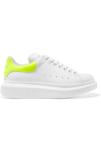 neon sneakers leather white shoes