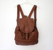 bag,leather,backpack,vintage,hipster,brown,leather bag,leather backpack,dress