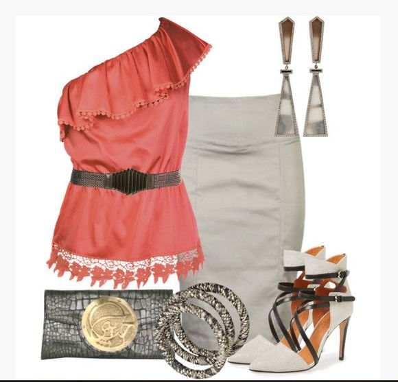 coral salmon salmon pink high heels blouse skirt top shirt one shoulder top off the shoulder frilled top frilled hem belted coral top medium skirt pencil skirt ankle wrap heels taupe heels earrings clutch clothes outfit