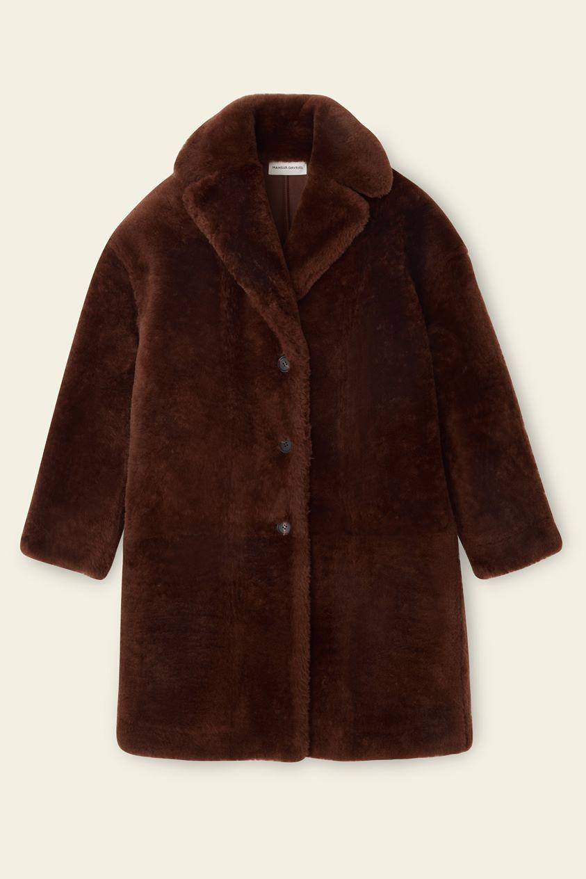 Shearling Classic Coat - Dark Brown