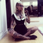 dress,sara fabel,black and white,cute,upside down cross,babydoll dress