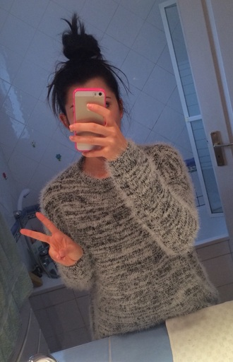 sweater knitwear winter sweater grey sweater grey bershka winter outfits cute cute outfits four one oh! fourrure