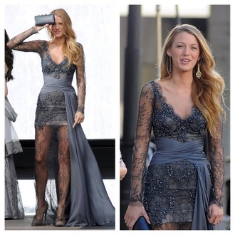 dress zuhair murad blake lively gossip girl serena van der woodsen lace grey