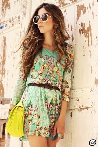 dress floral belted belt style spring summer green dress floral dress bag sunglasses