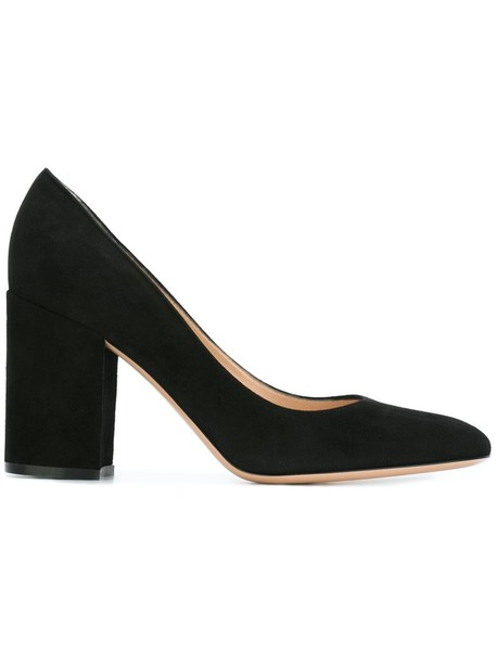 Gianvito Rossi heel chunky heel women pumps leather suede black shoes