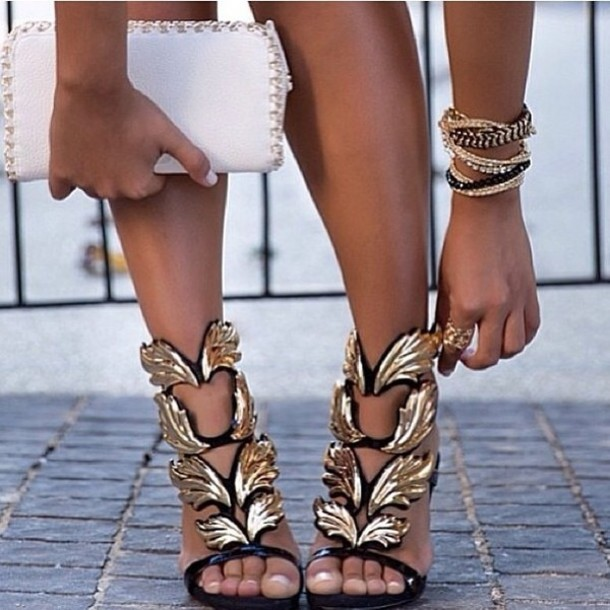 Shoes Sexy Gold Black High Heels Wheretoget