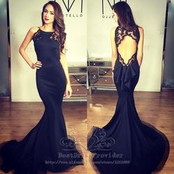 Online shop wonderful black backless mermaid long evening dress 2015 scoop applique floor length new arrival formal dresses robe de soiree