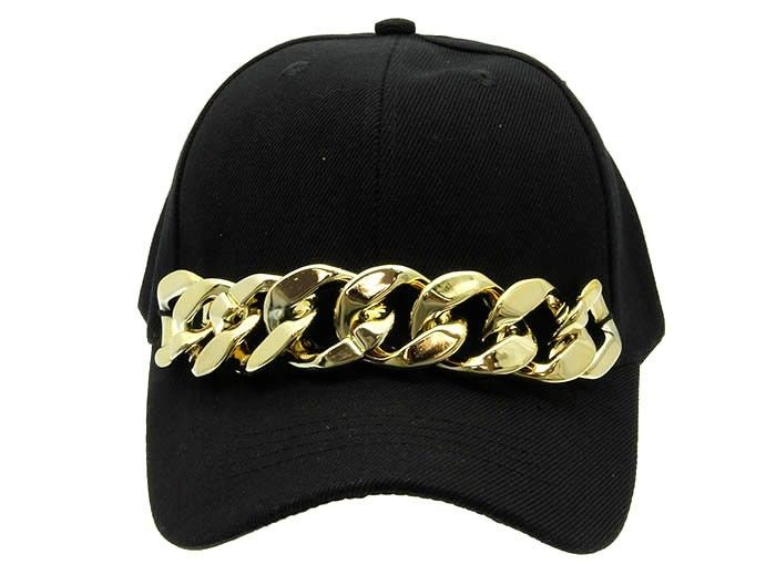 Chain Baseball Cap Black Baseball Cap Gold Chain Black Cap | eBay