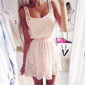 Nextshe 2014 hot summer pink square neck hollow strap drawstring waist chiffon dress for girls ladies s m l xl size